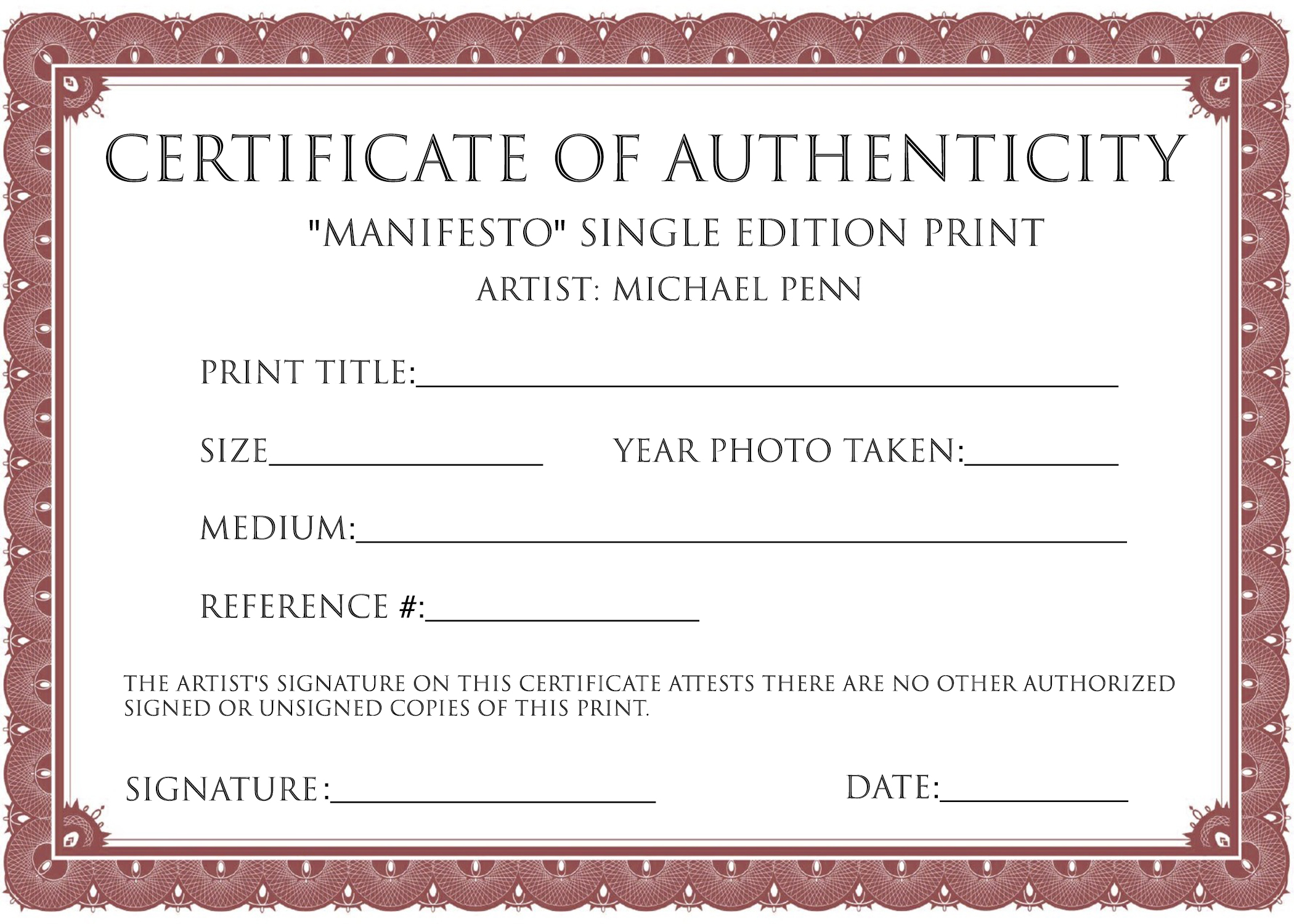 Example of certificate of authenticity