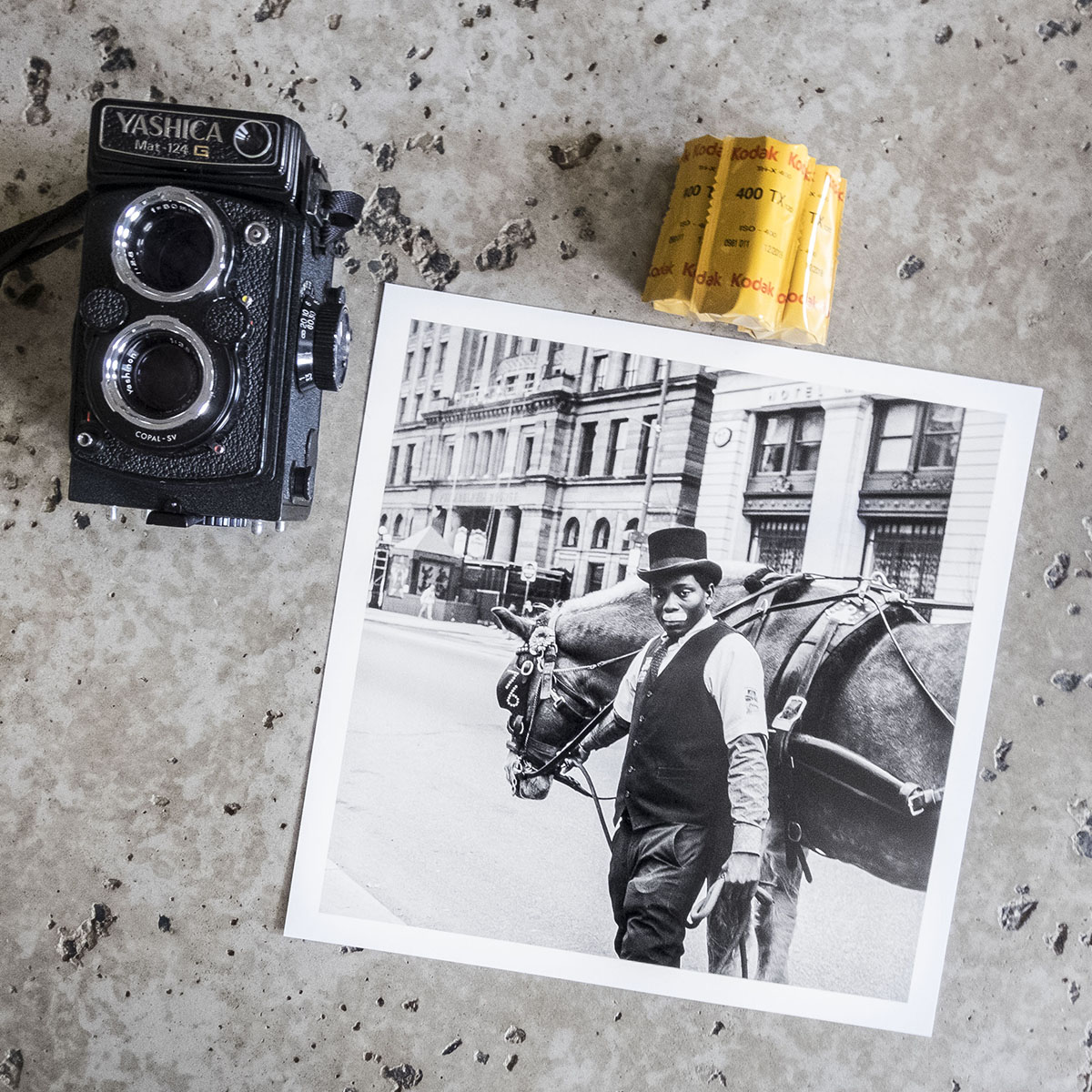 Yashica, the film, and a recent print from film.